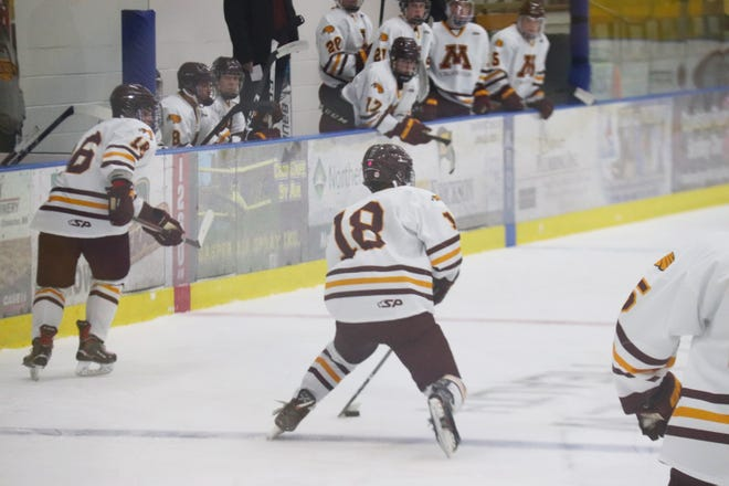 Casey Kallock in a game against Williston State on Jan. 29. Kallock and the Golden Eagles beat North Dakota, 8-1, Friday night in Grand Forks.
