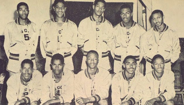 Bethune-Cookman's 1953 basketball team, with Cy McClairen second from left on top row, and future Hall of Fame NCAA coach John Chaney on the far right of the top row.