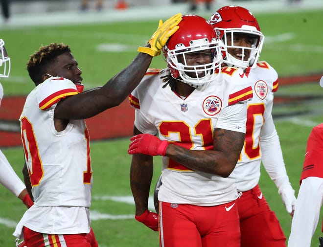 Kansas City Chiefs cornerback Bashaud Breeland (21) is congratulated by wide receiver Tyreek Hill (10) after an interception against the Tampa Bay Buccaneers in their game in the regular season. Defense could be a key factor for both teams in their rematch in Super Bowl 55.