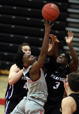 Southeastern Community College's Bruce Carpenter (11) puts up a shot during their home game against Ellsworth Community College, Saturday Jan. 30, 2021 at SCC's Loren Walker Arena.