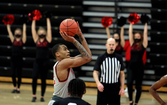 Southeastern Community College's Jesiah West (12) shoots a free throw during their home game against Ellsworth Community College, Saturday Jan. 30, 2021 at SCC's Loren Walker Arena.