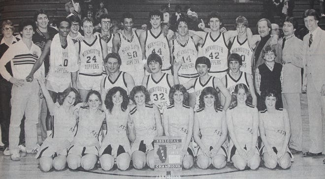 The 1981-82 Monmouth Zippers pose to show off their Knoxville Regional championship plaque, the first of several pieces of state tourney hardware the team collected that season. In front are cheerleaders Kay Carlson, Janet Talbott, Leisa Abbadusky, Tonya Zang, Lisa Werner, Lisa Frieden, Terry Saddoris and Allison Waddell. In the middle row are Mike Murphy, Mark Lovdahl, Jeff Johnson, Jeff Romano and Scott Mueller. In back are Brian Pettit, Rick Kellum, Joel Carlston, Fred Hayes, Mark Willhardt, Mark McCurdy, Jamie Paul, Jerome Birditt, Mike Miller, Mel Blasi, Tony DeFord, John Kinney and coaches Dan Hogan, Greg Dillard and Mike Mueller.
