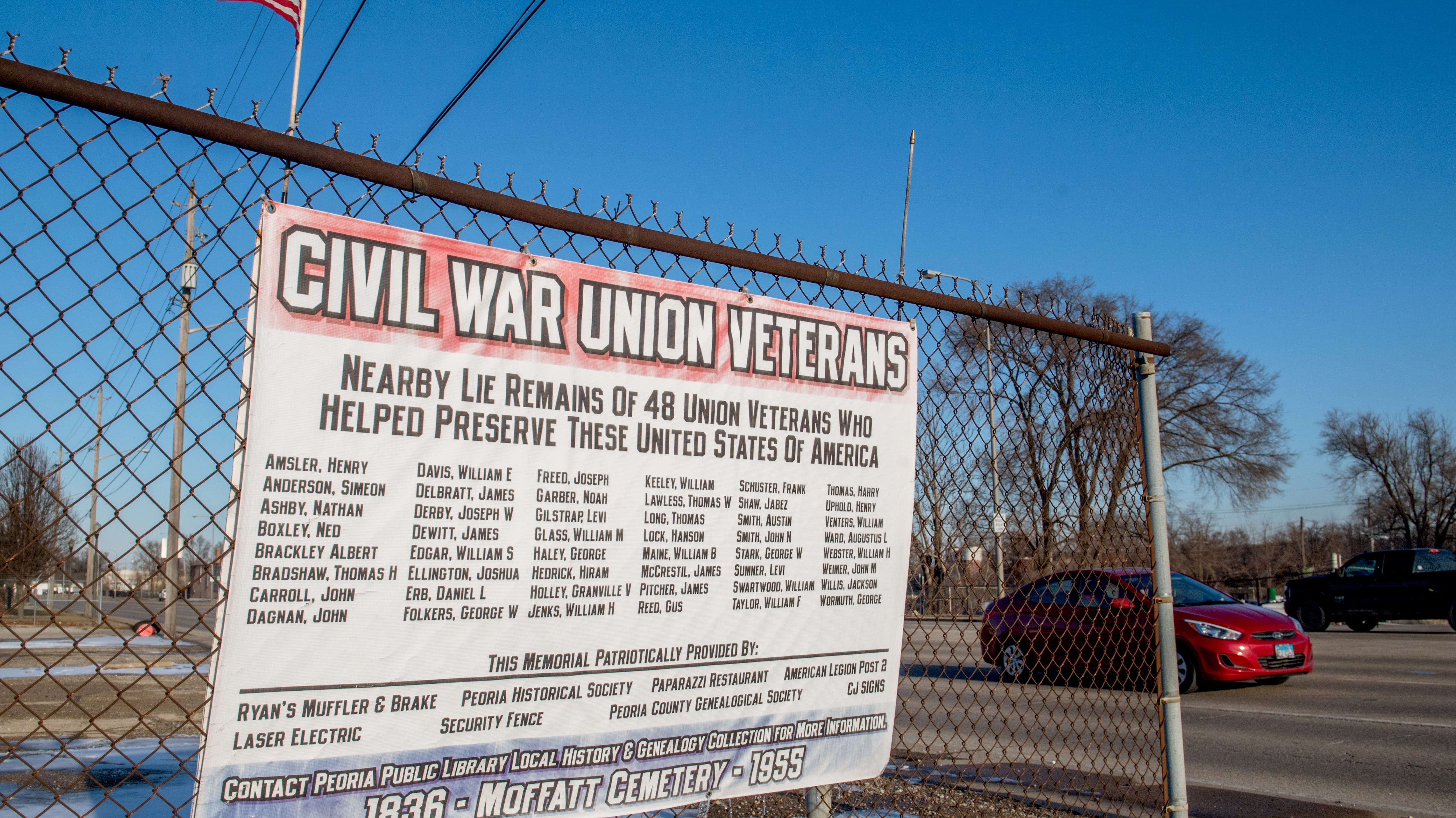 A large sign lists the names of 48 Civil War veterans believed to be buried under the pavement in the area around 3915 SW Adams in Peoria. Also buried there is Nance Legins-Costley, the first slave legally freed by Abraham Lincoln.