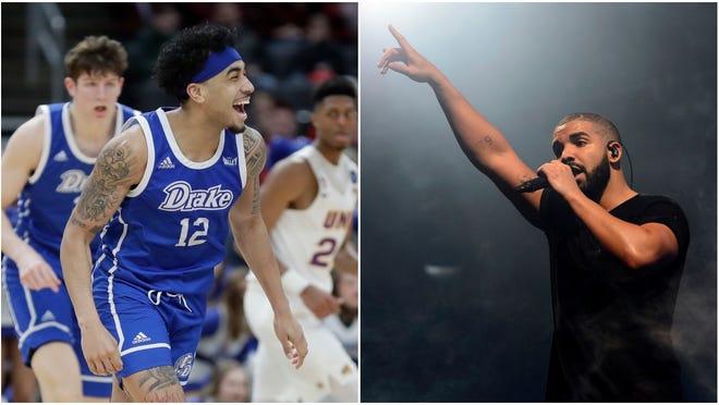 Drake basketball player Roman Penn, left, and rapper Drake.