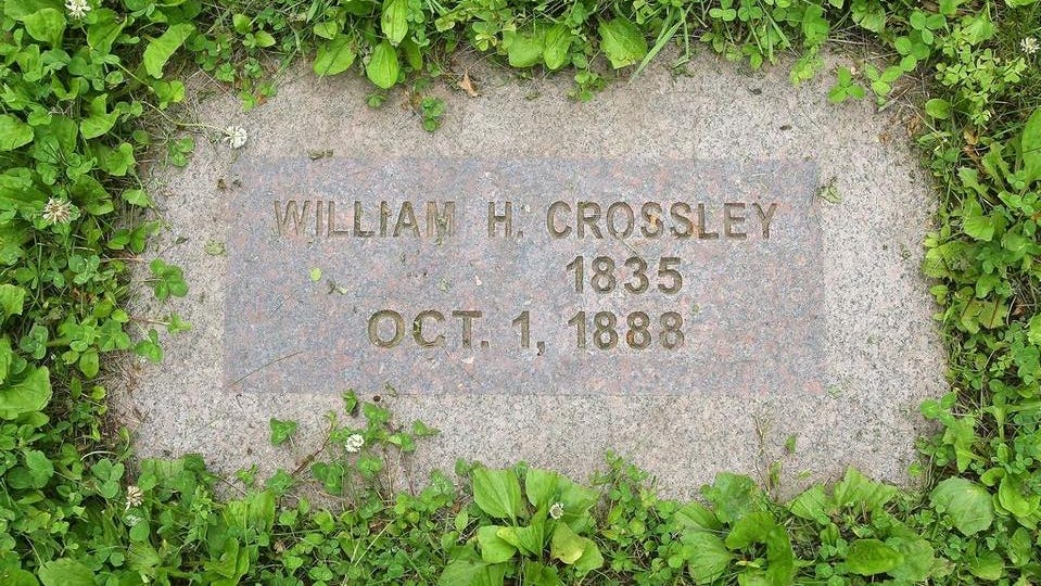 This is likely the grave of William H. Costley of Pekin, the son of Nance Legins-Costley. The marker, in Rochester, Minn., incorrectly cites his name as well as his year of birth.