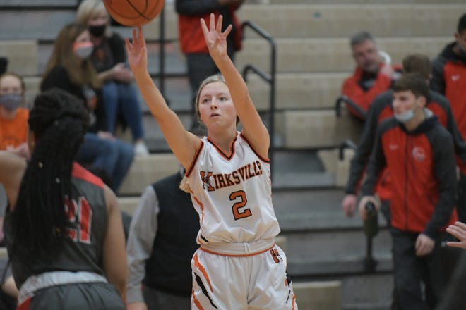 Kirksville senior point guard Kenslie Stufflebean puts up a 3-point shot Friday against Mexico.