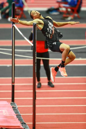 Trey Culver competes in the high jump during the Texas Tech Invitational on Jan. 30 at the Sports Performance Center. Culver is at the U.S. Olympic Trials this week in Eugene, Oregon, where the high-jump competition unfolds on Friday and Sunday.