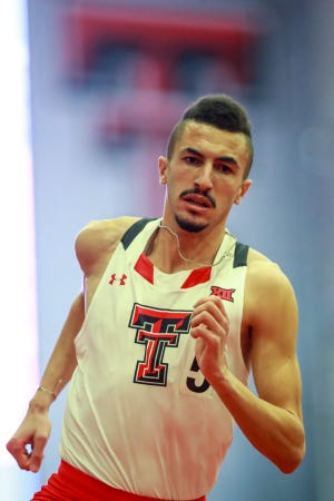 Texas Tech's Takieddine Hedeilli broke the school record in the mile run Sunday at a meet in Fayetteville, Arkansas.
