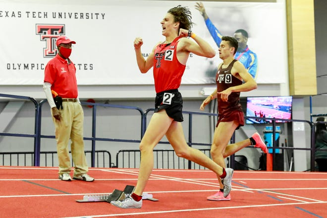 Texas Tech's Owen Likins exults over winning the men's mile Saturday during the Tech Invitational at the Sports Performance Center. The freshman from Texarkana Texas got third in the 800 meters on Friday.
