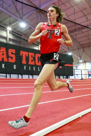 Texas Tech freshman Owen Likins, pictured here in a meet earlier this season, ran the leadoff leg on the Red Raiders' distance medley relay Friday that broke the school and Sports Performance Center records. Tech's time, converted for Lubbock's 3,200-foot altitude to 9 minutes, 32.06 seconds, ranks fourth in NCAA Division I this season.