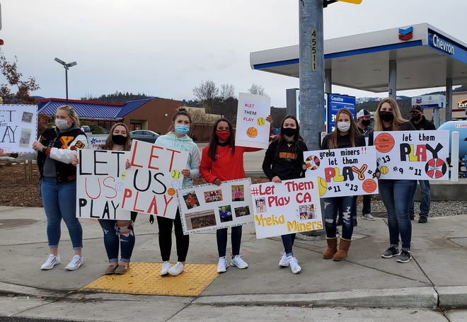 High school students take part in the Let Them Play Rally on Friday in Yreka.