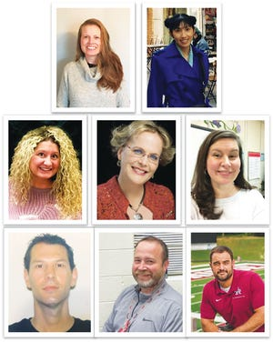 "The Oak Ridge Schools' Teachers of the Year from each individual school are: Top, from left, Kimberly Thornhill, Oak Ridge Schools Preschool; Yi Ching ""Kat"" Sakovich, Glenwood Elementary; Erica Hixson, Linden Elementary; Michelle Goethert, Willow Brook Elementary; Carol Lawson, Woodland Elementary; Alex Goldberg, Jefferson Middle; Jason Nussbaum, Robertsville Middle; and Jeff Miner, Oak Ridge High."