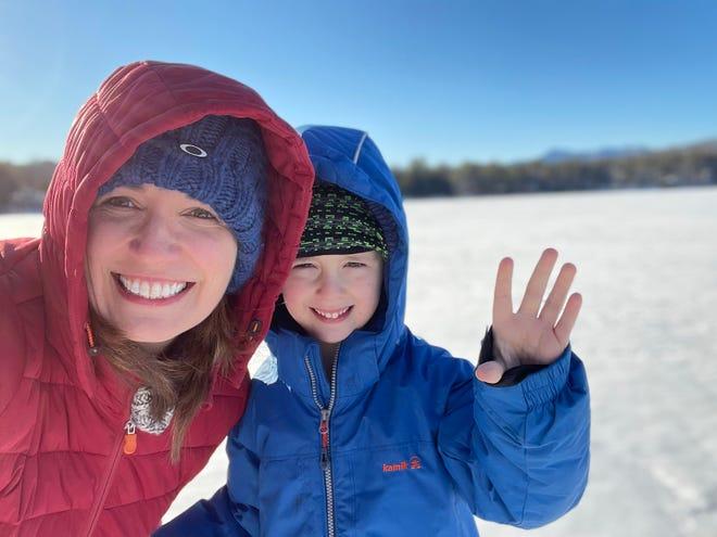 Vanessa Lillie and son celebrate her milestone birthday in New Hampshire.