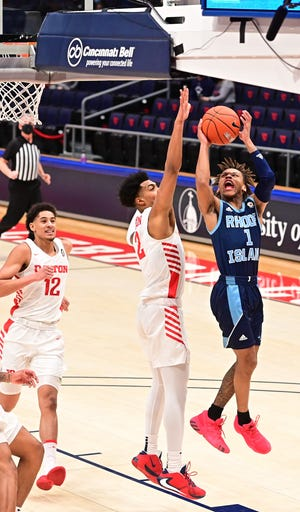 Fatts Russell goes up for a basket in the first half of URI's loss to Dayton Saturday evening.