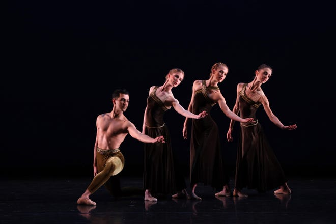 """From left, Ricardo Graziano, Katelyn May, Danielle Brown and Ellen Overstreet in a moment from Paul Taylor's """"Brandenburgs,"""" part of a digital program offered by The Sarasota Ballet."""