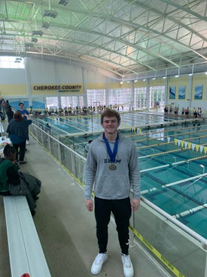 For the fourth consecutive year, Sam Parker of The Habersham School placed first in three events at the  GAPPS state championship swim meet. He is shown Saturday at the Cherokee County Aquatic Center in Canton.