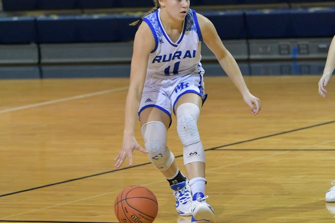 Washburn Rural's Emma Krueger helped the Junior Blues to a 53-24 win over Shawnee Heights on Friday.