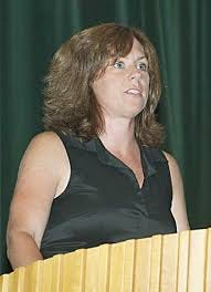 Meegan (Garrity) Turini speaks at the Clinton High Athletic Appreciation Recognition and Award Ceremony in 2011.