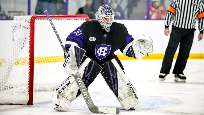 Holy Cross goalie Mark Radomsky turned aside 35 AIC shots during his third start of the season.