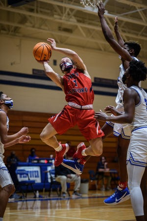 Led by senior Kaylon Keys (1), the Terry Sanford boys' basketball team could host each of its NCHSAA playoff games until the state championship. The Bulldogs will face Union Pines on Tuesday in Fayetteville.