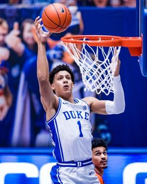Duke Men's Basketball takes on the Clemson University Tigers in the first half at the Cameron Indoor Stadium on January 30, 2020 at Durham, North Carolina.