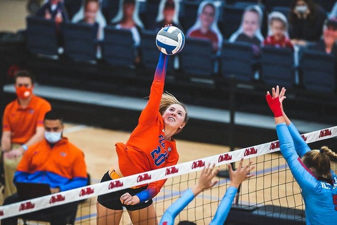 Florida's Thayer Hall posted eight kills with a .353 attack percentage Friday against Ole Miss.