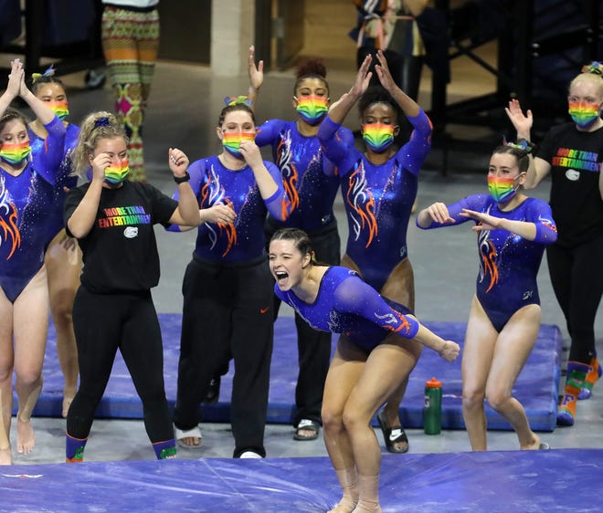 Florida gymnast Megan Skaggs yells in celebration after her routine on the bars Friday against Missouri at Exactech Arena.