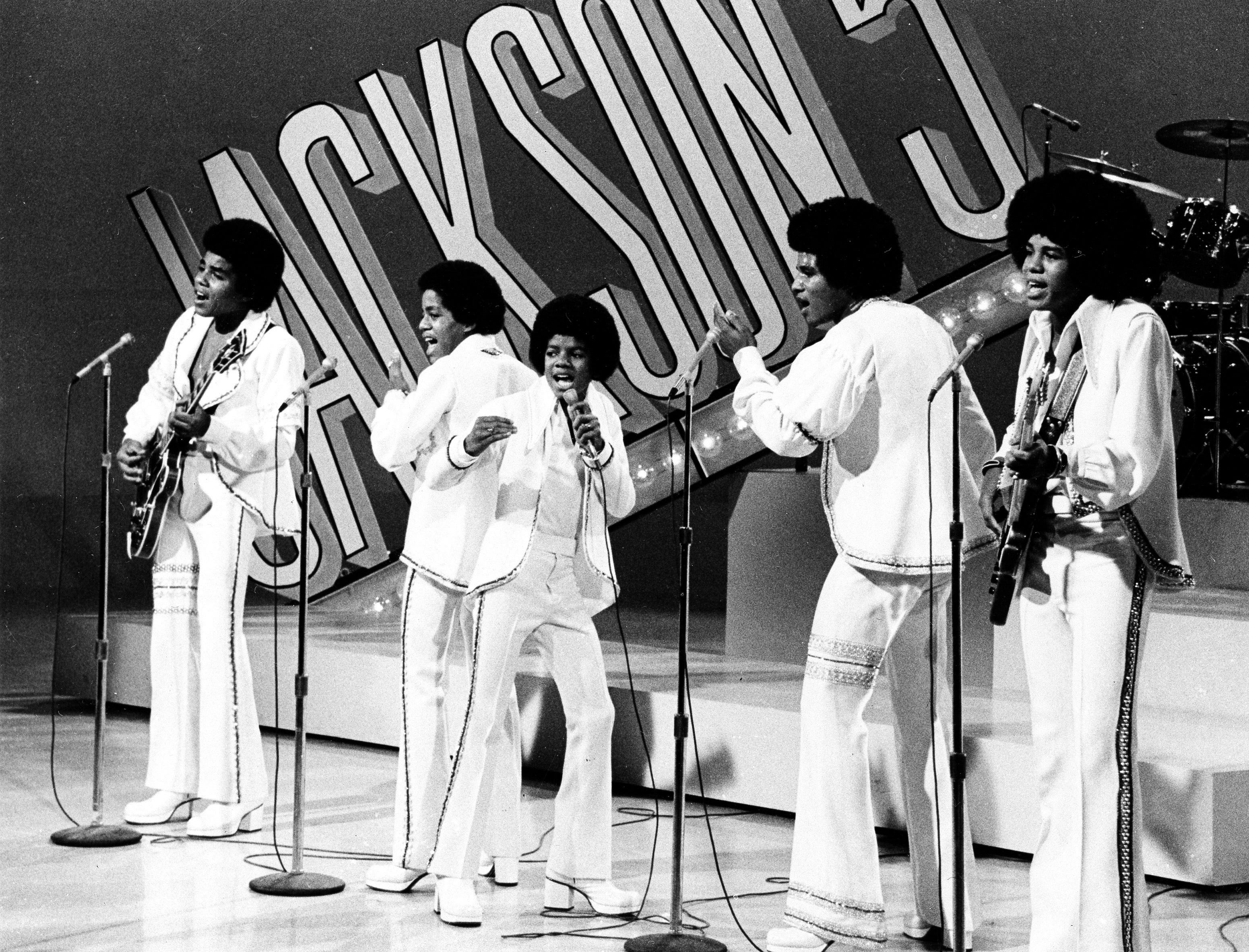 """The Jackson 5 perform during the """"Sonny and Cher Comedy Hour"""" in Los Angeles, Calif., Sept. 15, 1972.  The brothers, from left to right, are, Tito; Marlon; lead singer Michael, the youngest; Jackie; and Jermaine."""
