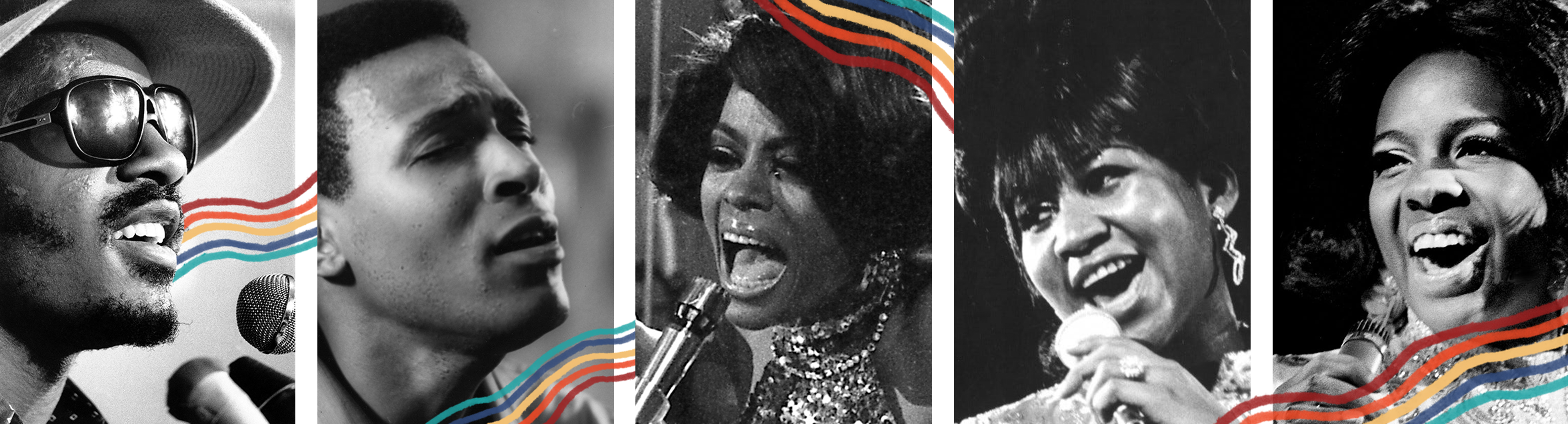 Stevie Wonder, Marvin Gaye, Diana Ross, Aretha Franklin and Gladys Knight are products of Motown.