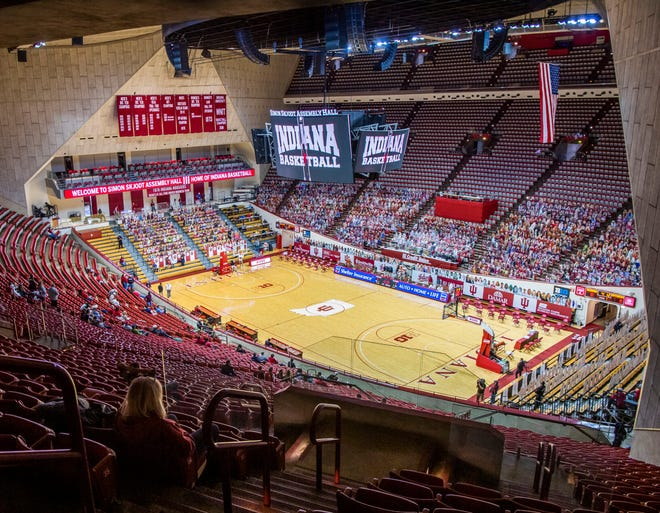 A fan enjoys her view minutes before the start of Indiana's men's basketball game against Rutgers last Sunday at Simon Skjodt Assembly Hall.