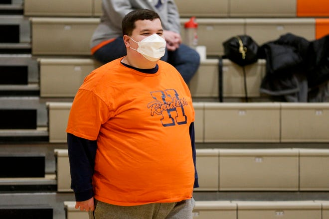Tommy Sondgerath watches the Harrison Raiders take on the Richmond Red Devils during the fourth quarter of an IHSAA boys basketball game, Friday, Jan. 29, 2021 in West Lafayette.