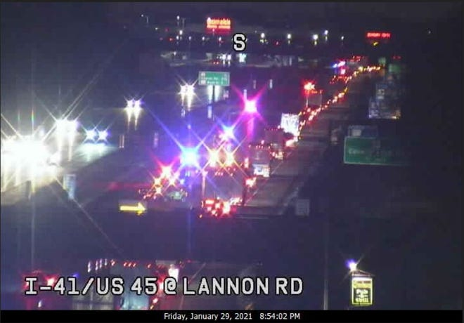 A crash on Friday, Jan. 29, caused all northbound and southbound lanes closed on I-41/US 45 at Highway Q in Menomonee Falls.