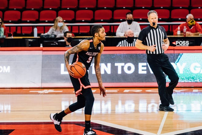 File -- Ball State's Ishmael El-Amin competes for the Cardinals during their game against Miami (Ohio) on Jan. 19, 2020.