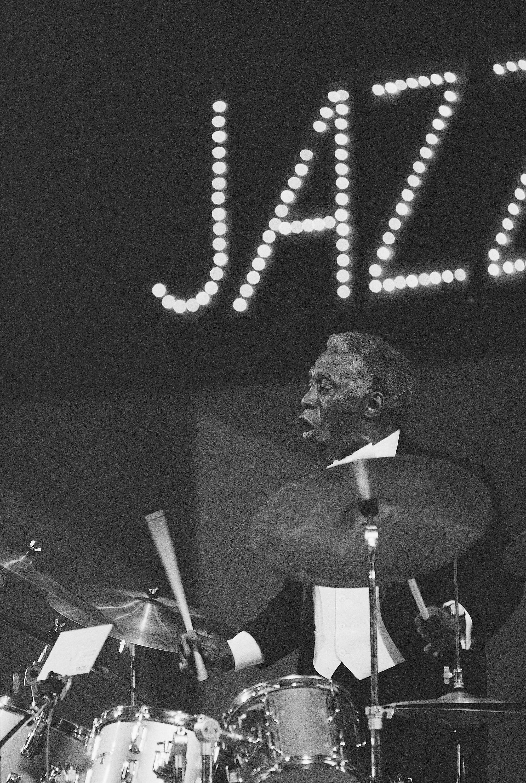 Drummer Art Blakey performs on opening night of the Kool Jazz Festival at Carnegie Hall Friday, June 27, 1981. His group is called The Jazz Messengers.