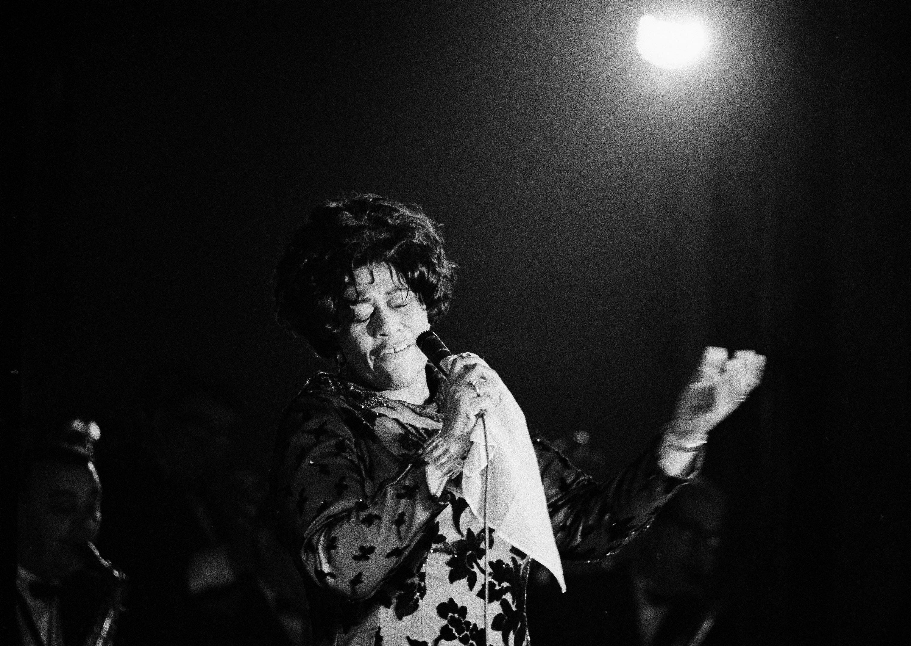 Famed jazz singer Ella Fitzgerald performs at the Empire Room at the Waldorf Astoria Hotel in New York, March 30, 1971.