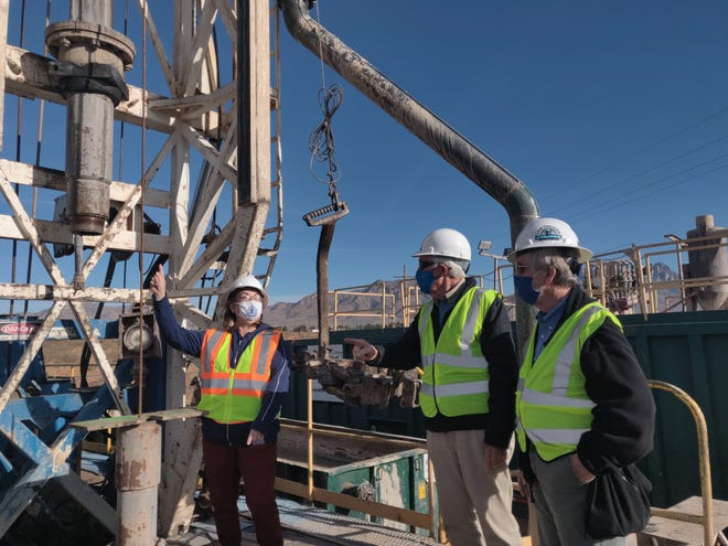 From left to right, Las Cruces Utilities Director Delilah Walsh, LCU Board of Commissioners Harry Hardee and William Little at the Well 40 site.