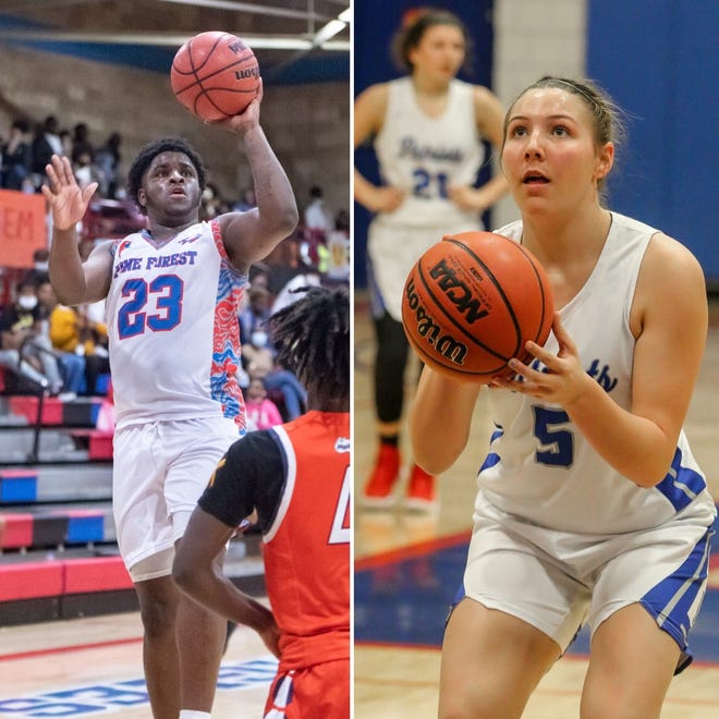Pine Forest's Dashawn Palmore (left) and Pace's Violette Skipworth (right) are among this week's nominees for PNJ Athlete of the Week.