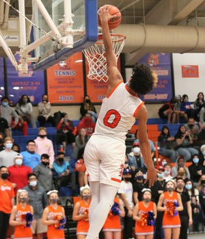 San Angelo Central's Branden Campbell goes up for a slam dunk during a District 2-6A game against Odessa Permian at Babe Didrikson gym on Friday, Jan. 29, 2021.