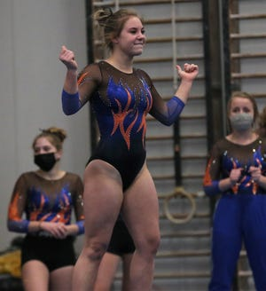 San Angelo Central's Madison Vogel competes on floor exercise during an optional meet with Rockwall at the James R. White Gymnastics Center on Friday, Jan. 29, 2021.