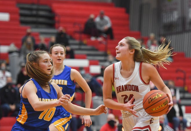 Brandon Valley's Emma Jarovski looks to the basket during a game against Aberdeen Central on Friday, Jan. 29, at Brandon Valley High School.