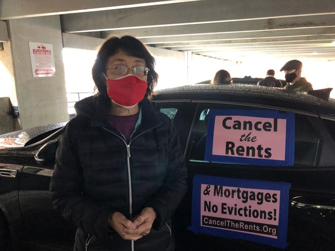 Gloria La Riva, U.S. presidential candidate for the Party of Socialism and Liberation in 2016 and 2020, talks about a car caravan demonstration put on by the party and Springfield Tenants Unite held in Springfield on Jan. 30, 2021.