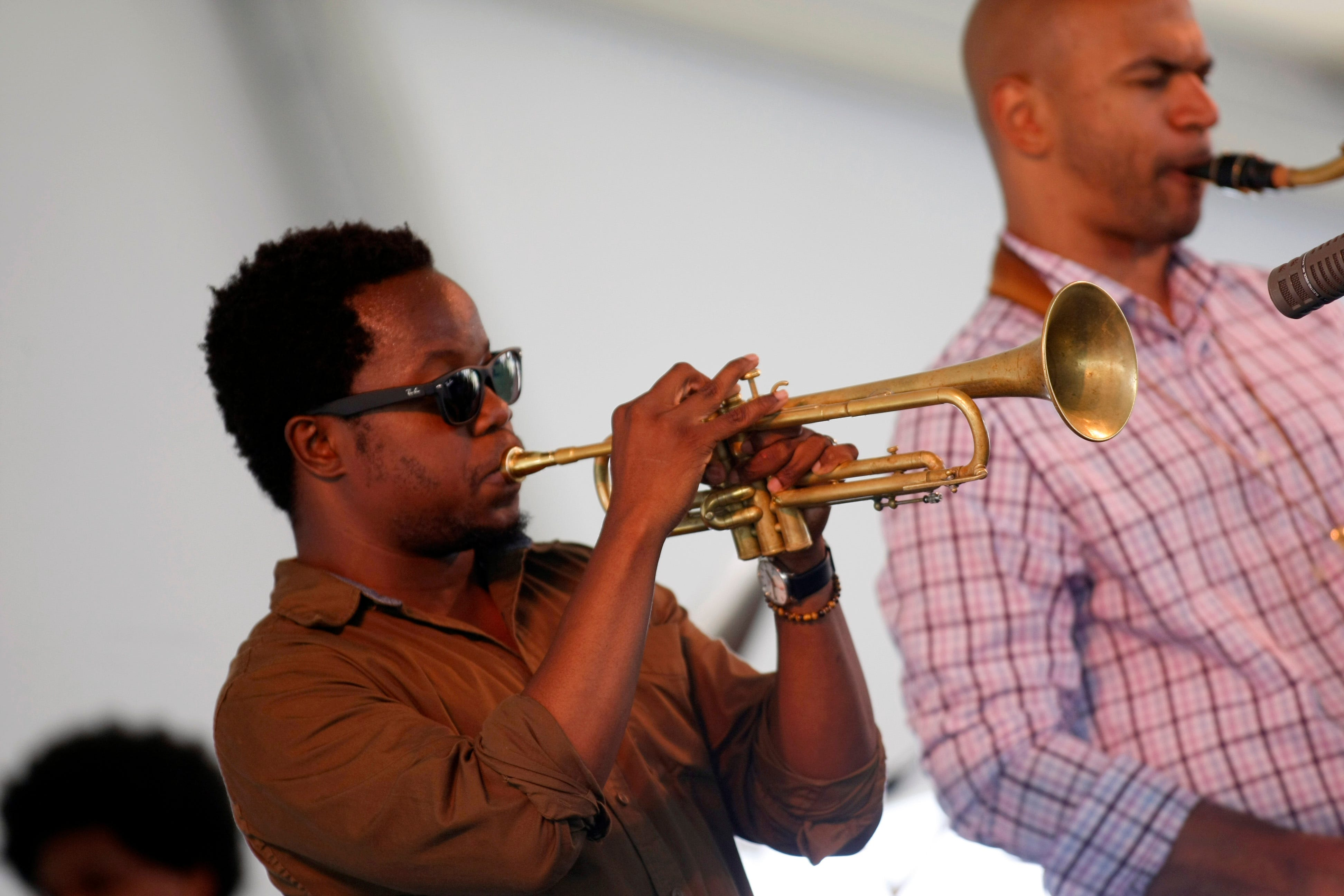 Ambrose Akinmusire performs with his quartet at  the Newport Jazz Festival in Newport, R.I. on Sunday, Aug. 5, 2012.
