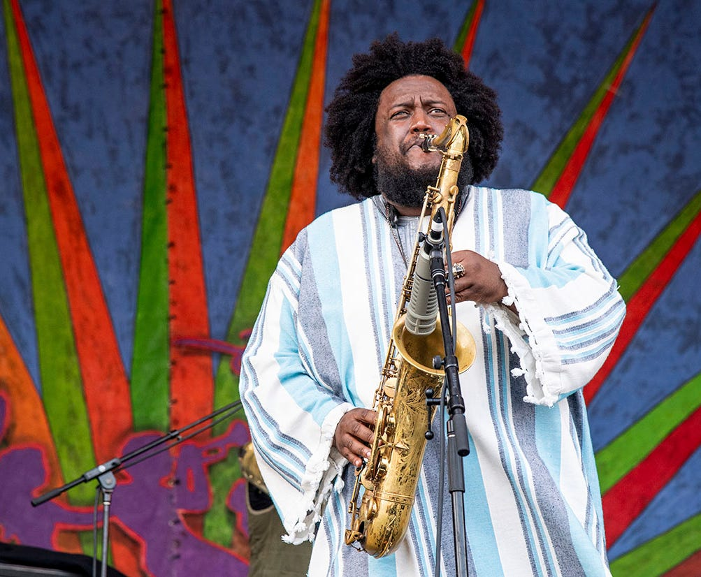 Kamasi Washington performs at the New Orleans Jazz and Heritage Festival on Friday, May 3, 2019, in New Orleans.