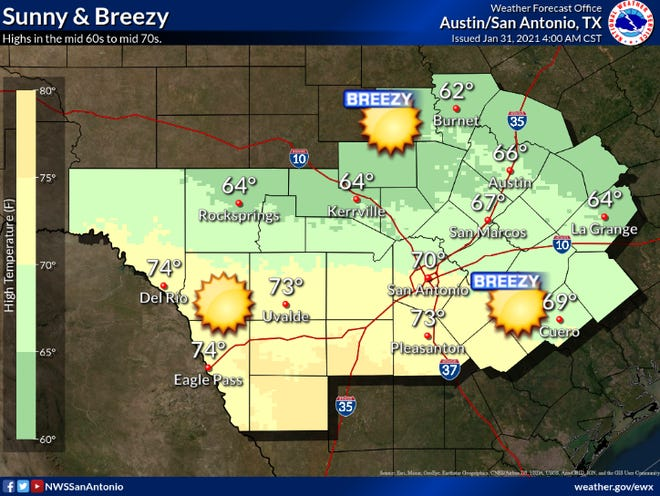 Sunny but breezy weather expected Sunday.