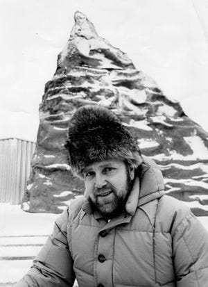 A 40-year-old Bill Conrad shows off his 33-foot replica of the Matterhorn produced for the 1971 Cleveland Sportsmen's Show. (For the record, the hat did not serve as a model for the mountain.)