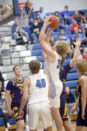 Boonville senior Lane West had 18 points and 15 rebounds for a double-double in a 66-57 loss against Class 6 Columbia Hickman Friday night at the Windsor gymnasium. The loss dropped the Pirates to 9-6 on the season.