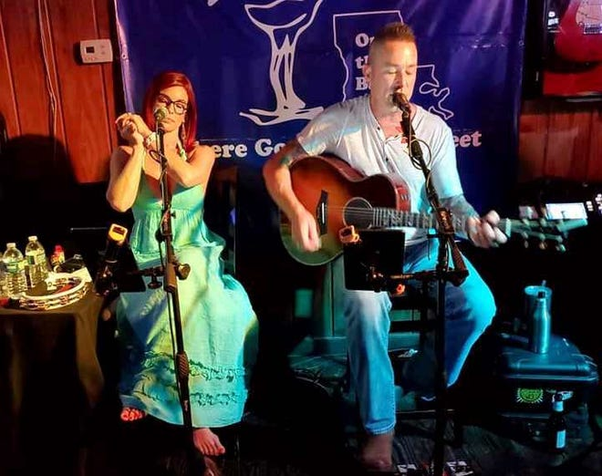 Casie and Jonny Thibodeaux perform before the pandemic at Beck's in Raceland.