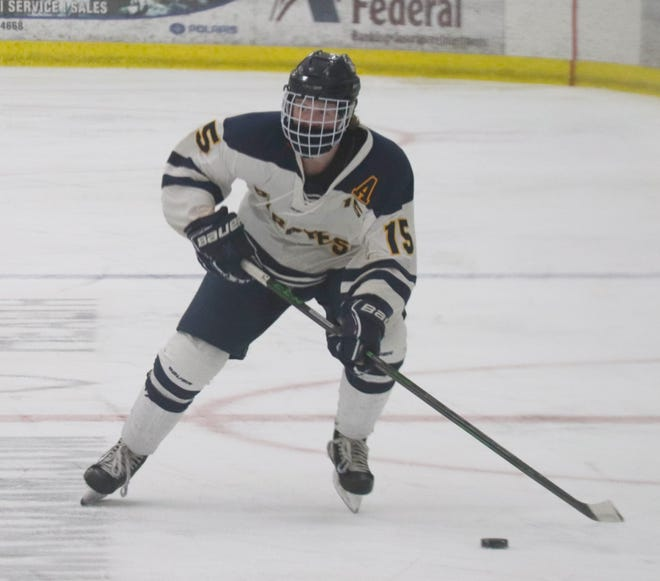 Jack Doda in a game against Grafton-Park River on Jan. 30. Doda scored Crookston's lone goal in a 7-1 playoff loss to Thief River Falls Saturday.