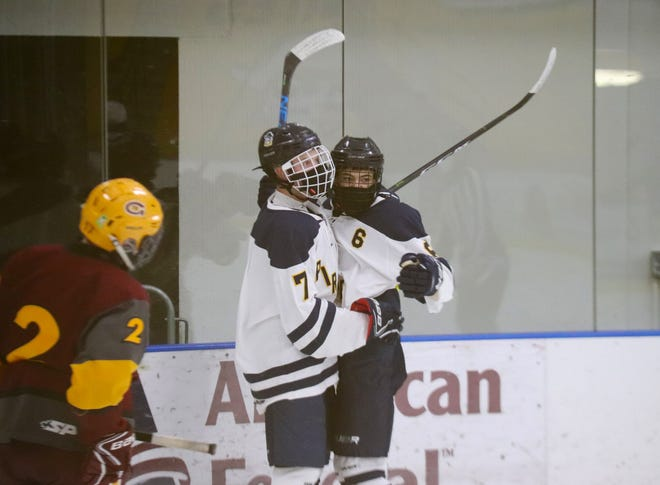 Kaleb Thingelstad (7) celebrates his goal against Grafton-Park River. Thingelstad scored a goal in Crookston's first win of the season, a 4-2 win at Lake of the Woods Friday.