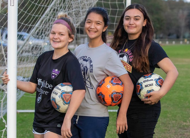 Sophomore Madison Fletcher and freshmen Jennifer Tagalos and Gabby Figueroa have helped lead Lake Gibson to its best season in